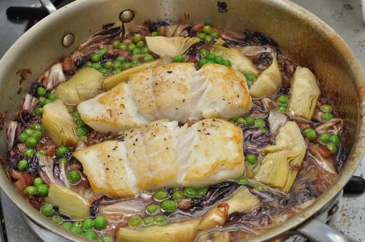 Roasted Halibut with Peas & Pancetta in Pan