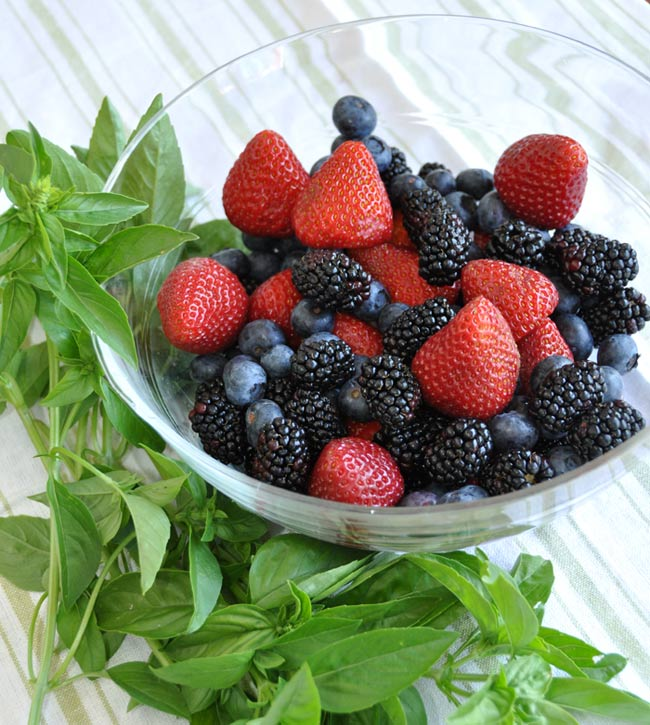 mixed berries and basil