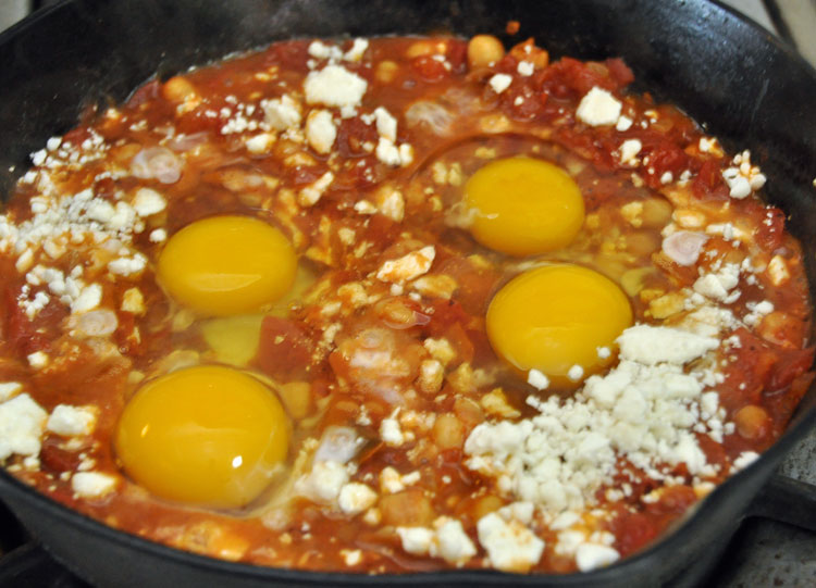 Baked Eggs with Tomatoes, Garbanzos and Feta — Former Chef