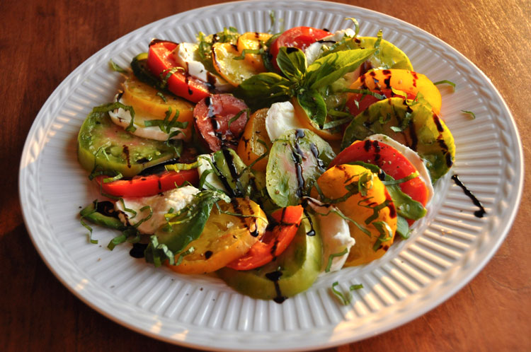 California Caprese; Tomato, Mozzarella, and Avocado.