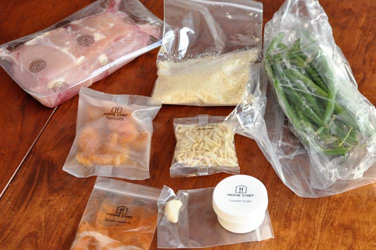Home Chef ingredients for Berbere chicken thighs with green beans and cous cous with almonds and apricots.