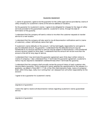 Guarantor Agreement Template Free Download