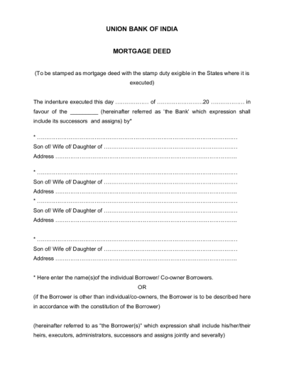 Template of Mortgage Deed Free Download