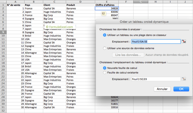 Choisir la plage de données pour un tableau croisé dynamique