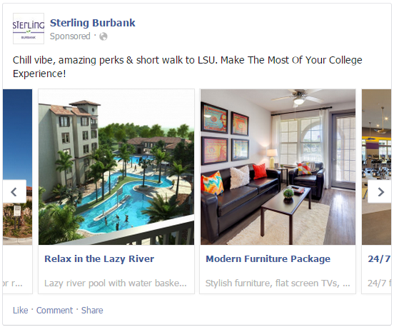 facebook multi-product ads example