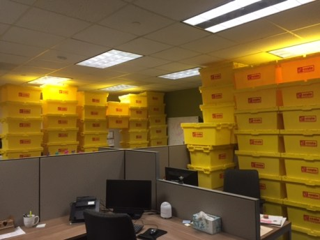 yellow moving bins