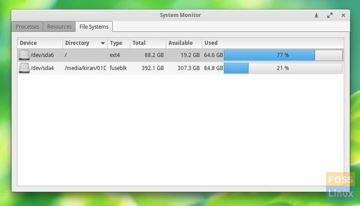 Hard disk usage - GNOME System Monitor