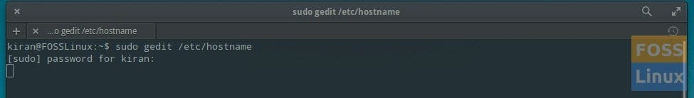 Terminal gedit command