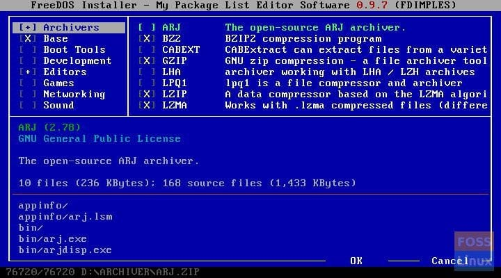FreeDOS Installer—My Package List Editor Software