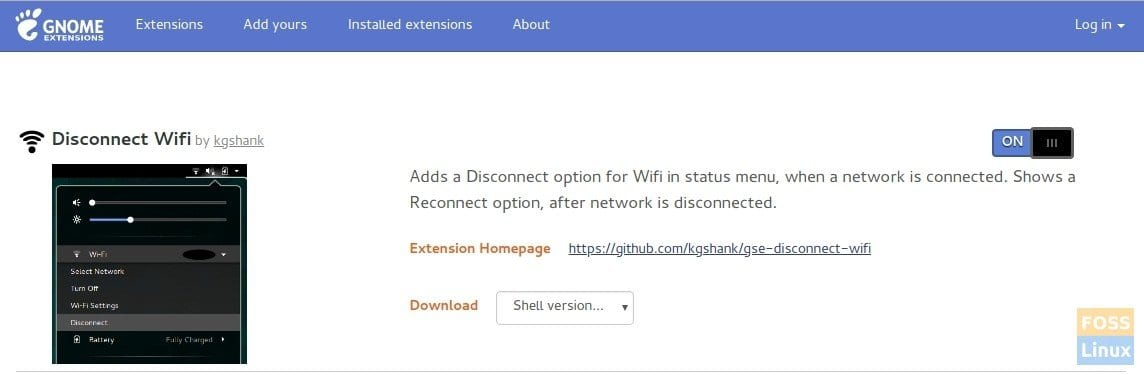 Enable Disconnect Wifi GNOME extension