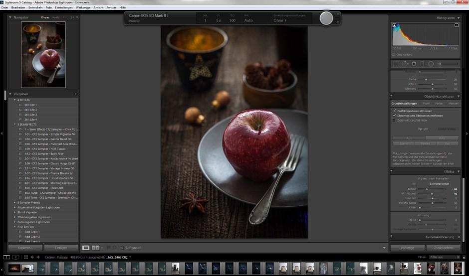 Tethered Shooting Aufnahme mit Lightroom