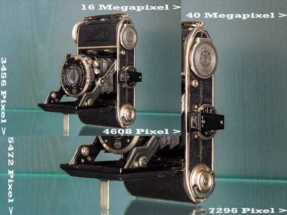 Vergleich Bildgrösse zwischen 16 und 40 Megapixel