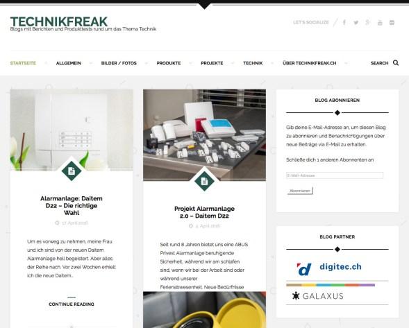 Neue Blogseite www.technikfreak.ch