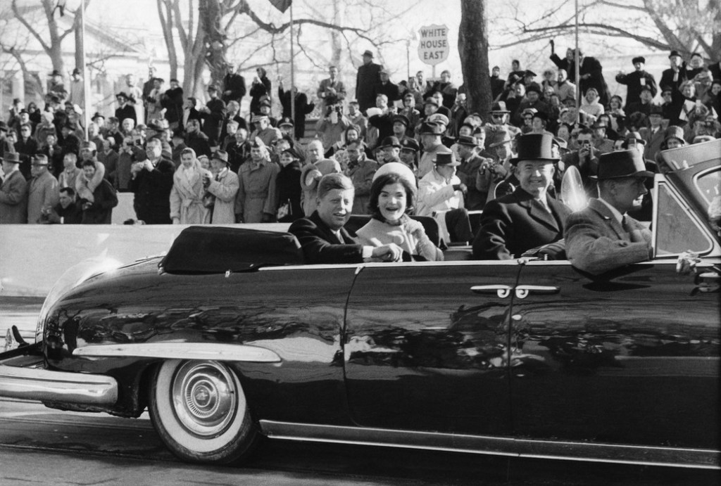 USA. Washington, D.C. 1961. President John F. Kennedy and wife Jacqueline on Inauguration Day.
