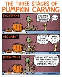 three stages of pumpkin carving