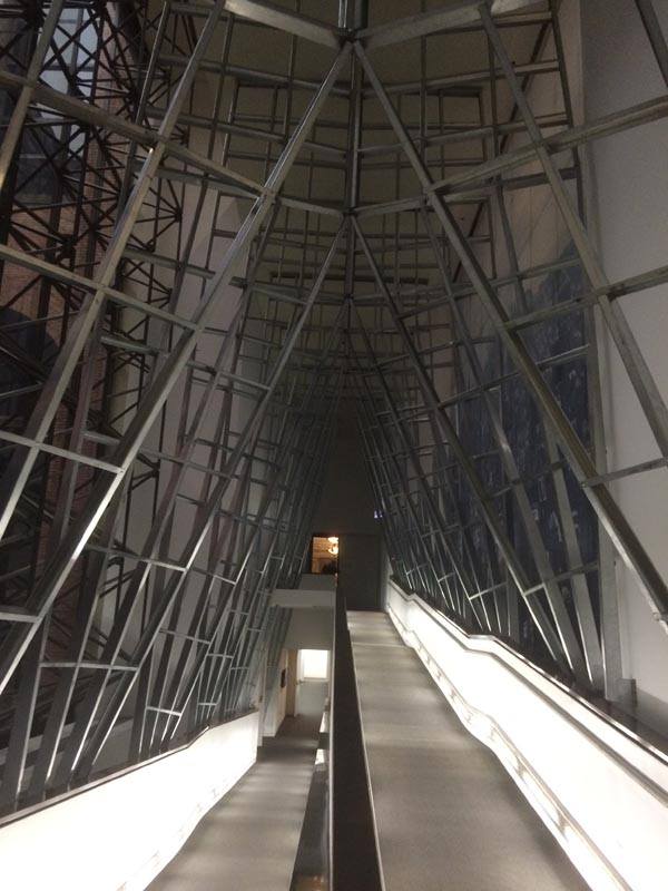 "SO-IL's ""Passage"". Metal studs forming a cathedral like structure along a ramp in the Center."