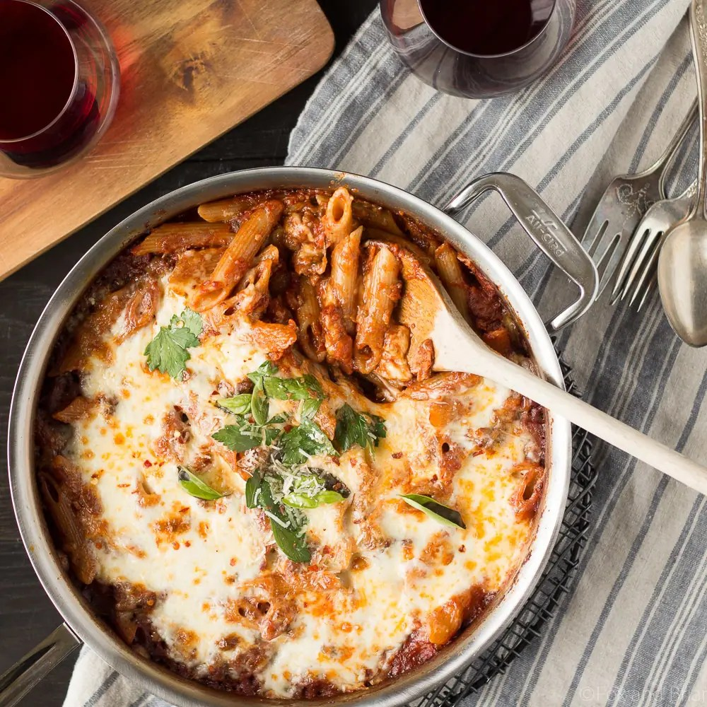 One Pot Pasta Bake with Sausage and Wine