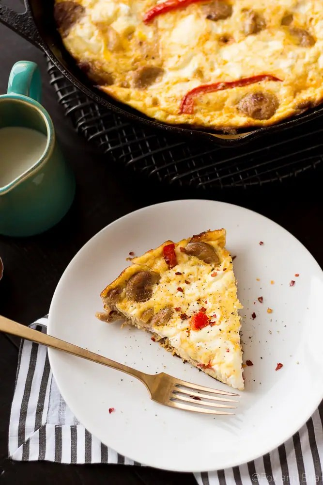 Sausage, Red Pepper and Goat Cheese Frittata - Fox and Briar