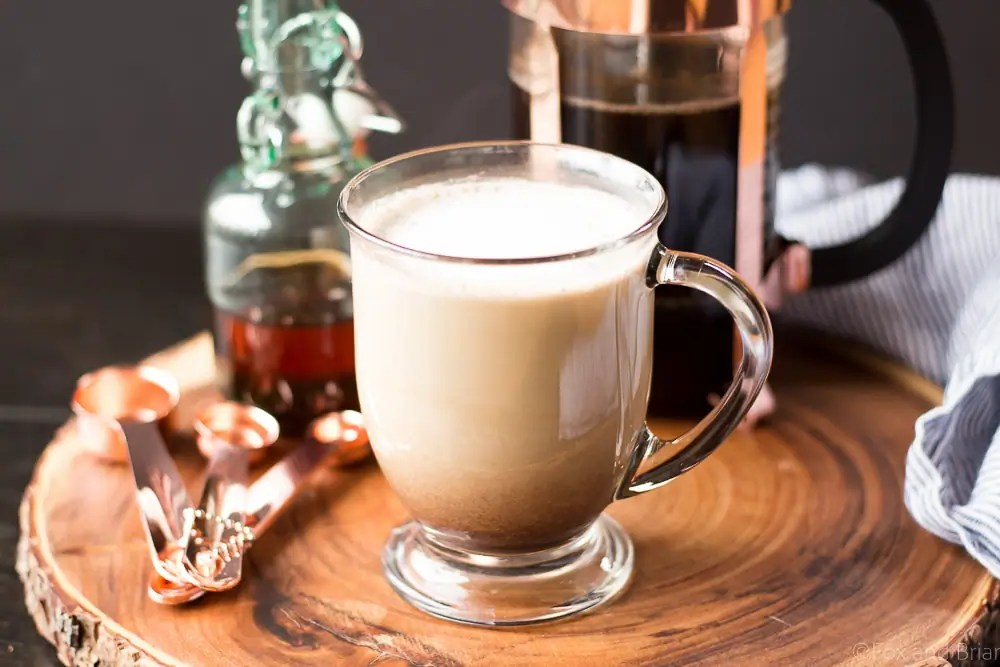 This simple maple latte is easy to make at home with no special equipment! Warm fall flavors of maple and spices will make any morning cozy!