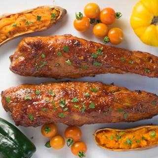 Cherry Chipotle BBQ Sauce Glazed Pork Tenderloin