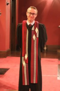 A photo of Rev. Otto at his Installation as Minister at First Parish in Malden.