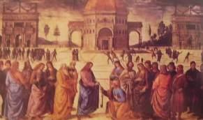 La consegna delle chiavi: Pietro Perugino, 1482, Cappella Sistina Roma