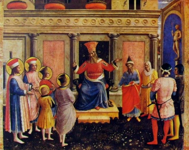 Predella: secondo scomparto - I Santi Cosma e Damiano davanti a Lisia