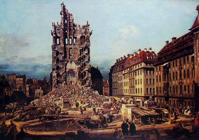 Bellotto: Dresda - i resti della Kreuskirche da est