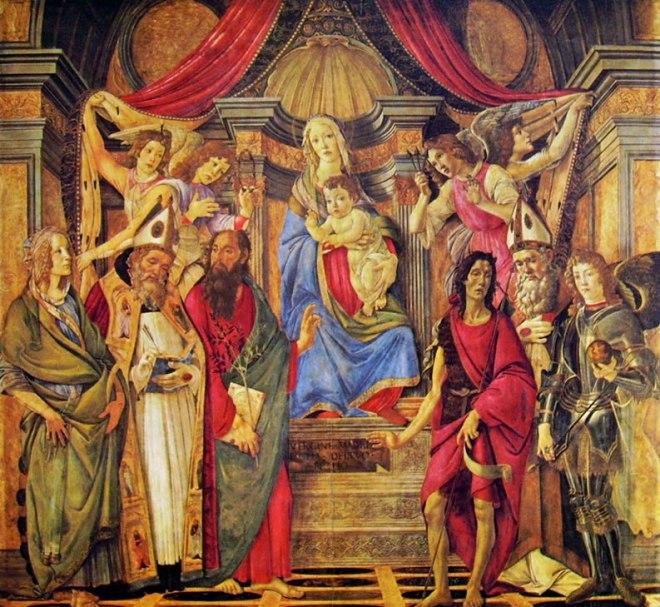 Il Botticelli: Pala di San Barnaba (Madonna con bambino in trono fra quattro angeli e sei santi)