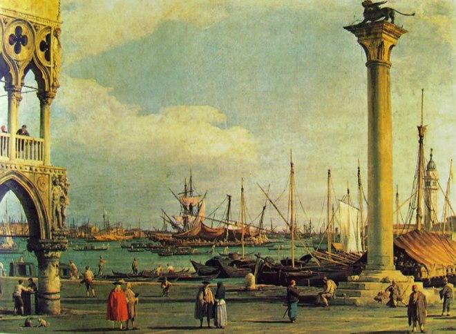 Il Canaletto: Il bacino di San Marco con l'isola di san Giorgio dalla piazzetta