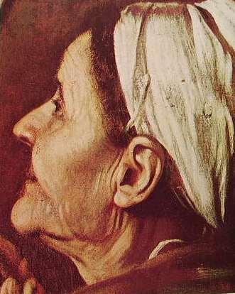 Particolare del volto della pellegrina