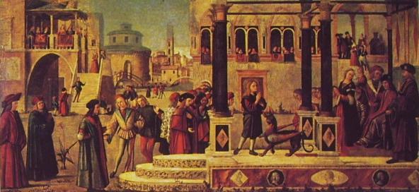 Carpaccio: San Trifone esorcizza la figlia dell'Imperatore Giordano