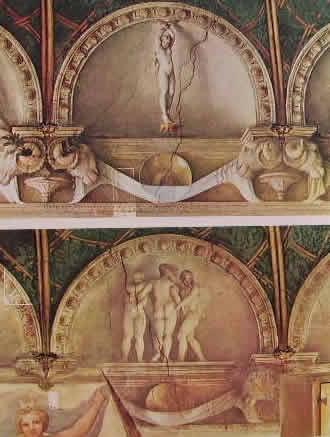 Particolare delle lunette negli affreschi della camera di San Paolo