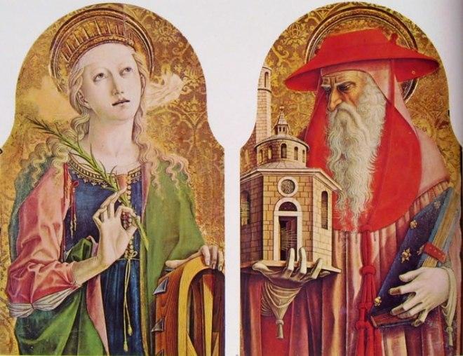 Carlo Crivelli: Polittico del duomo di Ascoli - Santa Caterina d'Alessandria e San Gerolamo