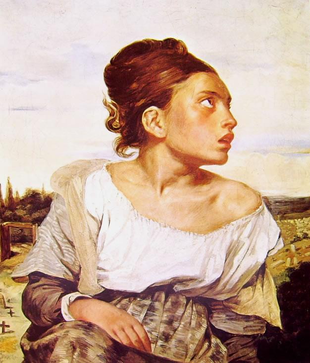 Eugène Delacroix: Orfanella in un cimitero