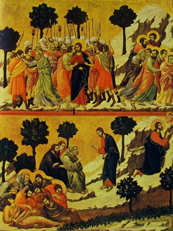 Duccio di Buoninsegna: Maestà - La cattura di Cristo e la preghiera nell'orto