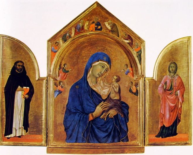 Duccio di Buoninsegna: Trittichetto di Londra (San Domenico - Madonna con il Bambino)