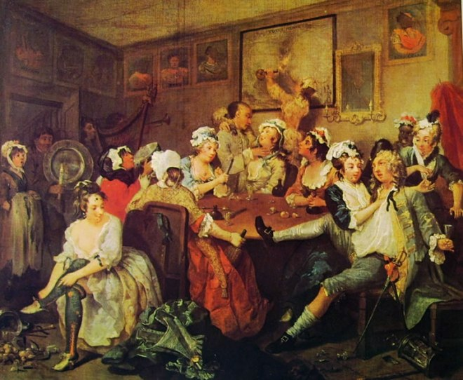 William Hogarth: La carriera del libertino - La taverna