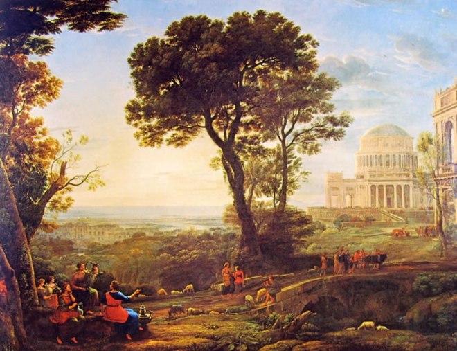 Lorrain (Claude Gellée): Veduta di Delfi con una processione