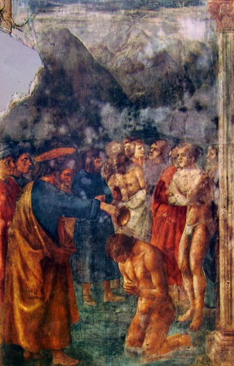 Masaccio: Cappella Brancacci: Il battesimo dei neofiti