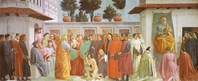 Masaccio: Cappella Brancacci - Resurrezione del figlio di Teofilo e San Pietro in cattedra