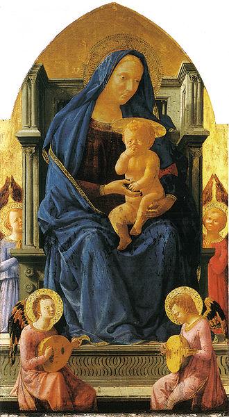Masaccio: Polittico di Pisa: Madonna in trono col bambino e angeli
