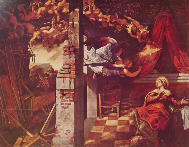 Il Tintoretto: Dipinti per la sala inferiore di San Rocco, l'Annunciazione
