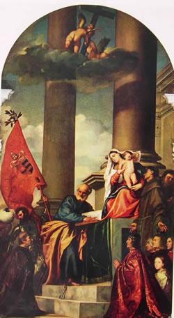 Sacra conversazione con i donatori Pesaro (Pala di Pesaro), cm. 268, Santa Maria gloriosa dei Frari.