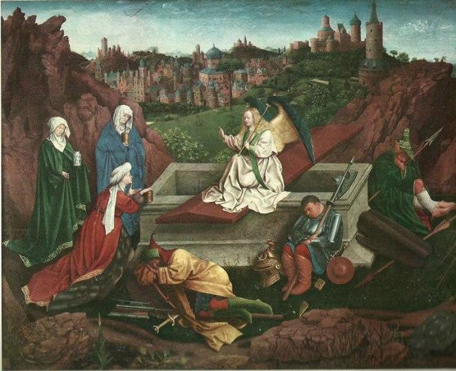 Jan van Eyck:Le tre Marie al sepolcro.