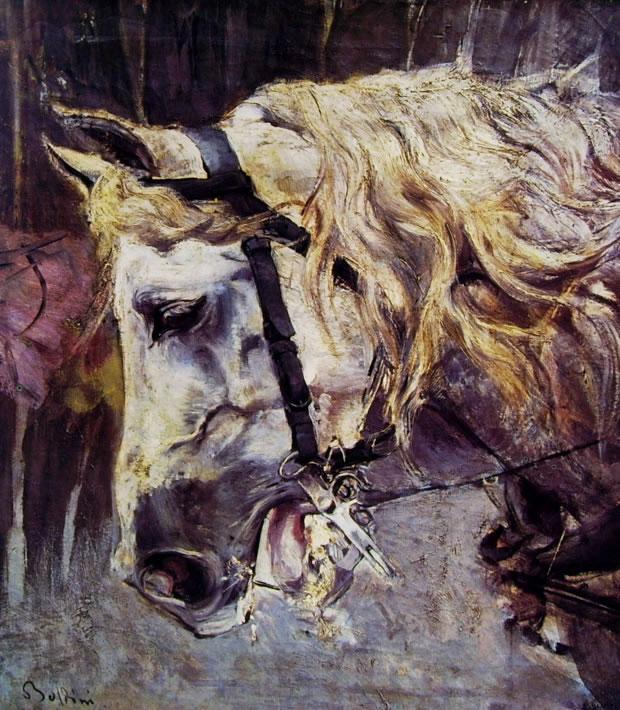 Giovanni Boldini: Testa di cavallo bianco