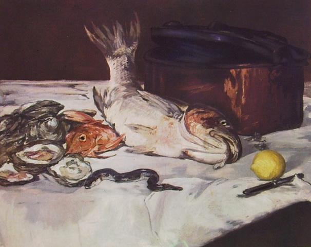 Edouard Manet: Natura morta con pesci e ostriche