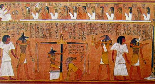 particolare del Libro dei morti dello Scriba Hunefer, papiro dell'XI dinastia, British Museum di Londra