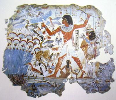 Nebamon a caccia, pittura su stucco, (da Tebe) British Museum di Londra