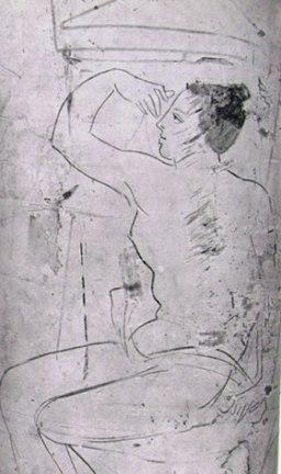 Pittore del Canneto: Lekythos con giovane donna sofferente (Atene, Museo Nazionale)
